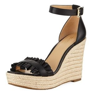 Michael korsBella Ruched Leather Wedge Sandals